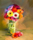 Abstract oil painting of spring flowers. Still life of yellow and red gerbera flower. Royalty Free Stock Photo