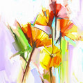 Abstract oil painting of spring flowers. Still life of yellow an Royalty Free Stock Photo