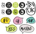 Abstract OK okay hand symbol vector and hand written yes, no, maybe, ok signs in speech bubbles.
