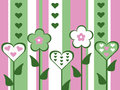 Abstract old fashioned cut out style pink and green flower and heart valentines day card striped background illustration Royalty Free Stock Photo