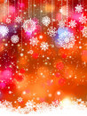 Abstract orange winter with snowflakes. EPS 8 Stock Images