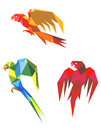 Abstract origami parrots Stock Photography