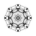 Abstract ornament in circle ornate mandala with herbal motifs element for design vector illustration Stock Photo
