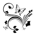 Abstract ornament with flower and butterfly Royalty Free Stock Photo