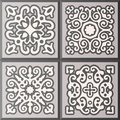 Abstract ornamental patterned tile collection. Original vector set of old motif decor.