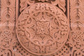 Abstract ornamnet carved on red stone - armenian church Royalty Free Stock Photo