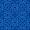 Abstract ornate monochrome blue seamless pattern