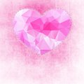 Abstract painted pink texture and big heart with polygonal geometric pattern Royalty Free Stock Photo