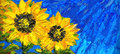 Abstract painting. Bright sunflowers on the field Royalty Free Stock Photo