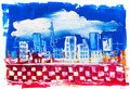 Abstract painting of city buildings