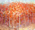 Abstract painting colorful autumn forest