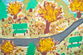 Abstract painting of kid - Autumn landscape Stock Photos