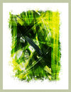 Abstract painting leaves poster with border Royalty Free Stock Images