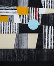 An abstract painting; mostly black, white and yellow, roughly ex