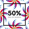 Abstract palm leafs with spectrum gradient. Fifty percent off. Special offer. Summer sale banner. End of season. Black frame. Vect Royalty Free Stock Photo