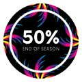 Abstract palm leafs with spectrum gradient. Sticker. Fifty percent off. Special offer. Summer sale banner. End of season. Black fr Royalty Free Stock Photo