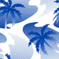 Abstract palm tree reflection on the water seamless pattern Royalty Free Stock Photo