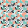 Abstract paper collage of retro 80`s Memphis pattern