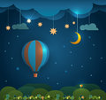 Abstract paper cut-Hot air balloon ,cloud,sky and moon with stars at night .Blank space for your design Royalty Free Stock Photo
