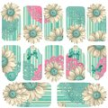 Abstract Paper Flower Button Gift Tags Royalty Free Stock Photos
