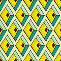 Abstract pattern in african style geometric with green and yellow rhombs background Stock Photography