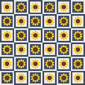 Abstract Pattern Background With Colorful Squares And Sunflowers