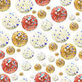 Abstract pattern from circles of red, yellow, beige colors on a white background