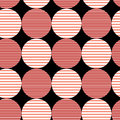 Abstract pattern of circles seamless graphic with stripes on a black background Stock Images