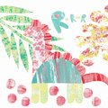 Abstract pattern with a collage of multicolored dinosaur and leaves