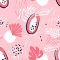 Abstract pattern with papaya and tropical plants on pink background. Ornament for textile and wrapping.