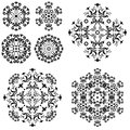 Abstract pattern set of symbolical floral black patterns design elements isolated on white Stock Photography