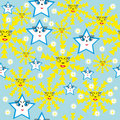 Abstract pattern with stars and suns Royalty Free Stock Image