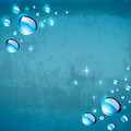 Abstract pattern with water drops on a blue background Stock Photos