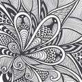Abstract pattern in zen tangle zen doodle style black on white or texture for coloring page or relax coloring book or wallpaper Royalty Free Stock Photo