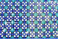 Abstract patterns old Portuguese tiles white blue turquoise Royalty Free Stock Photo