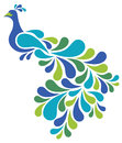Abstract peacock vector illustration of a retro style bird Stock Photography