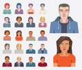 Abstract people icons set of vector face portraits of men and women Royalty Free Stock Images