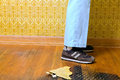 Abstract of person standing on retro 70s floor Royalty Free Stock Photo