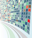 Abstract Perspective Grey-Green Mozaic background Stock Photo