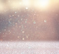 Abstract photo of light burst and glitter bokeh lights. image is blurred and filtered . Royalty Free Stock Photo