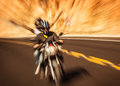 Abstract photo of riders motorbike with raised up hands extreme lifestyle slow motion moto touring speed transport race Stock Photography