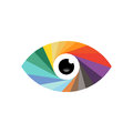 Abstract photographers eye illustration of an in a spectrum of colors on a white background Stock Photography