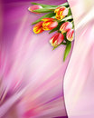 Abstract pink background with tulip flowers Royalty Free Stock Photo