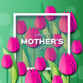 Abstract pink Floral Greeting card - Happy Mothers Day - With Bunch of Spring Tulips.