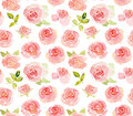 Abstract pink roses watercolor seamless pattern