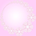 Abstract pink round frame with flowers pattern can be used as wallpaper web page background invitation card design etc Stock Photography