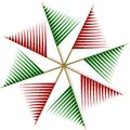 Abstract pinwheel from red and green strips Royalty Free Stock Photo