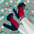 Abstract pixel art colored legs and girls shoes Royalty Free Stock Photo