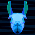 Abstract polygonal geometric bright glaring blue colored llama portrait for use in design Royalty Free Stock Photo