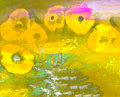 Abstract poppies on canvas image of a mixed media painting Royalty Free Stock Images